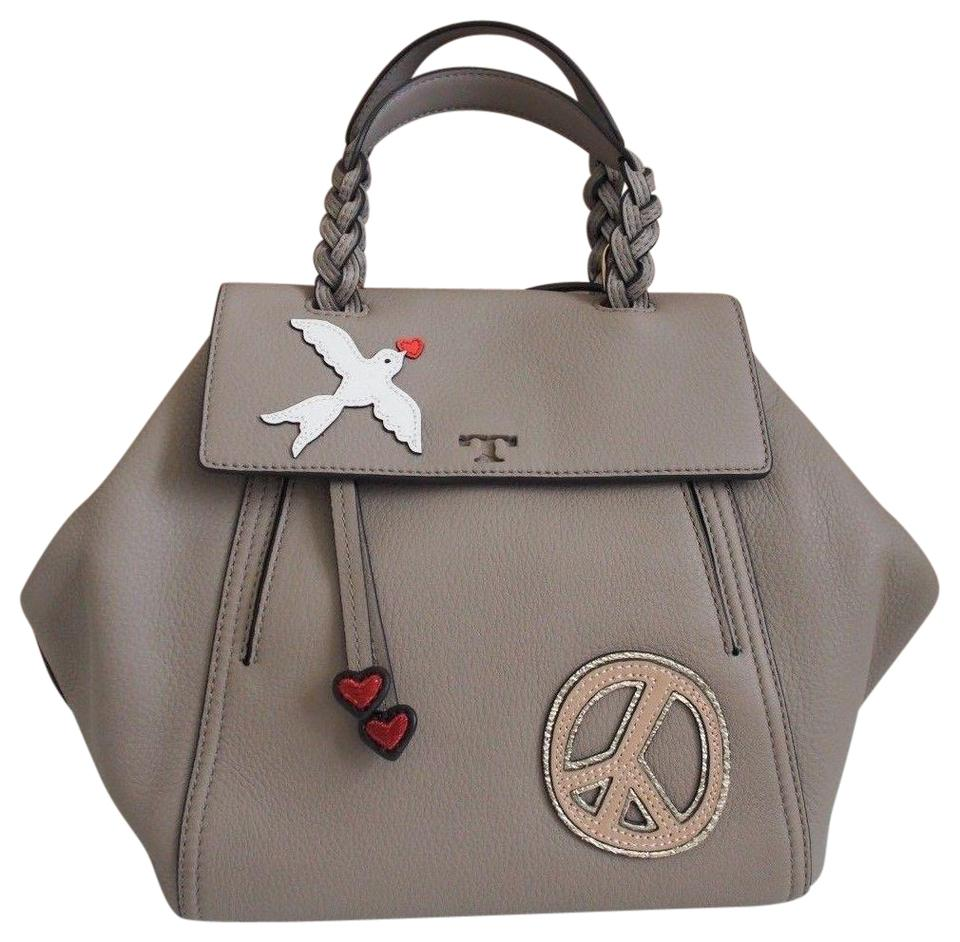 3406c0f1420 Tory Burch Peace Dove Pebbled Leather Satchel in French Grey Image 0 ...