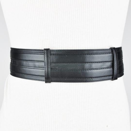 BCBGMAXAZRIA Belt Black Studded Faux Leather Wide