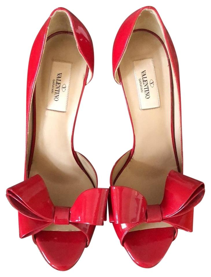 Valentino Bow Red Couture Bow Valentino Platform Peep Toe Pumps c5d752
