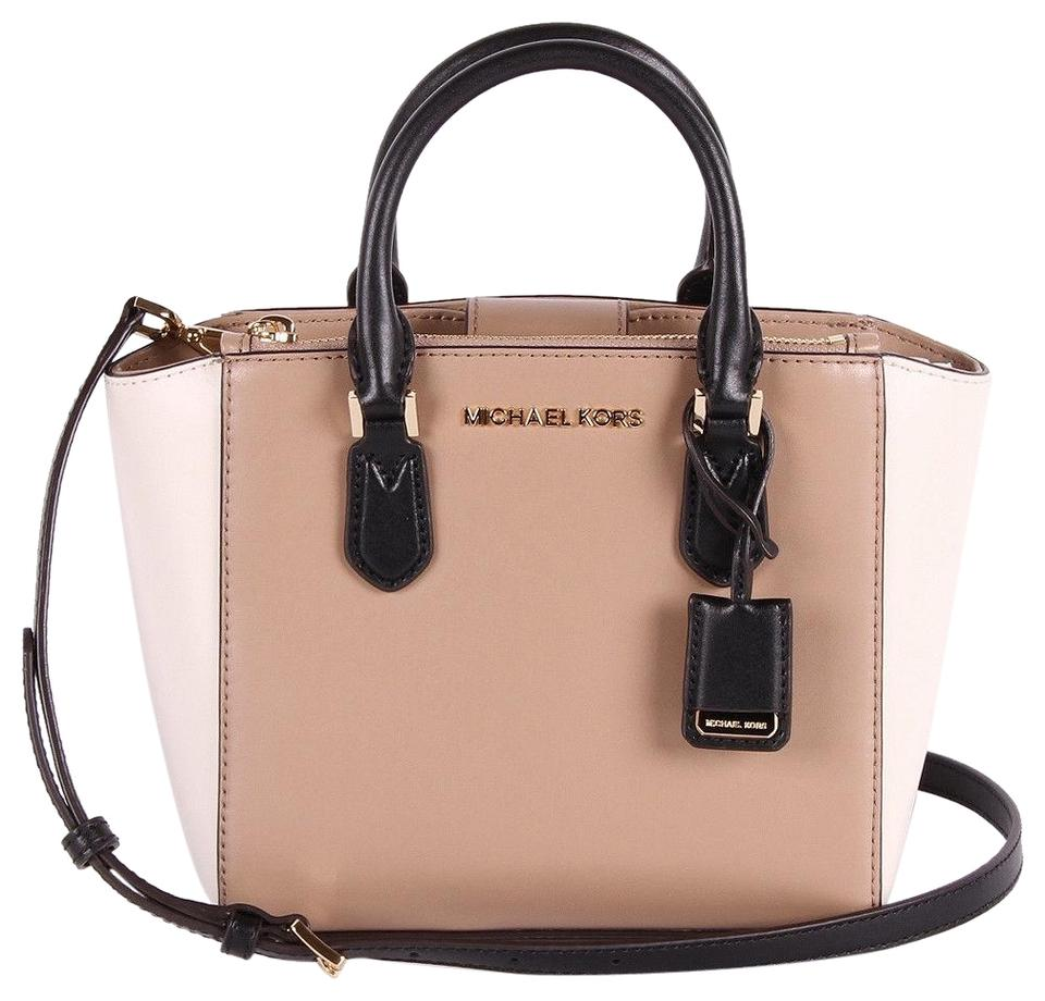 10127be28e83 Michael Kors Embossed Leather Optic White Ellis 3 Compartments Satchel in  multicolor Image 0 ...