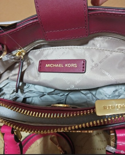Michael Kors Embossed Leather Optic White Ellis 3 Compartments Satchel in multicolor