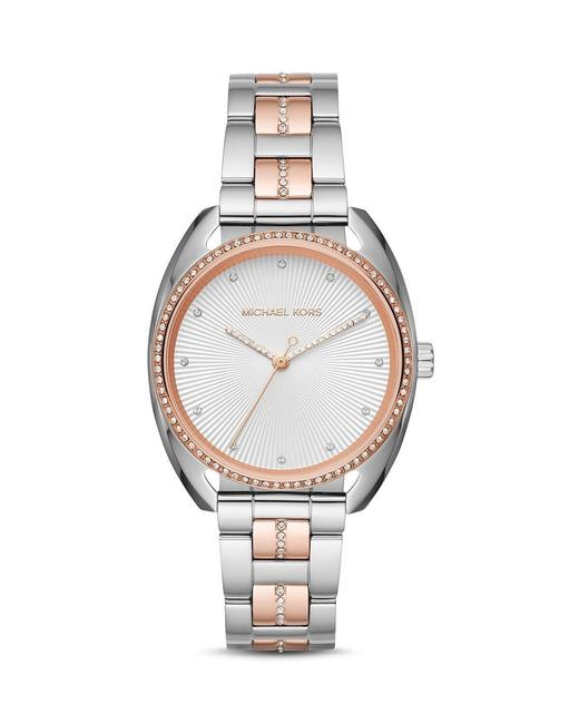 Item - Rose Gold Women's Libby Pave Crystal Two Tone Mk3676 Watch