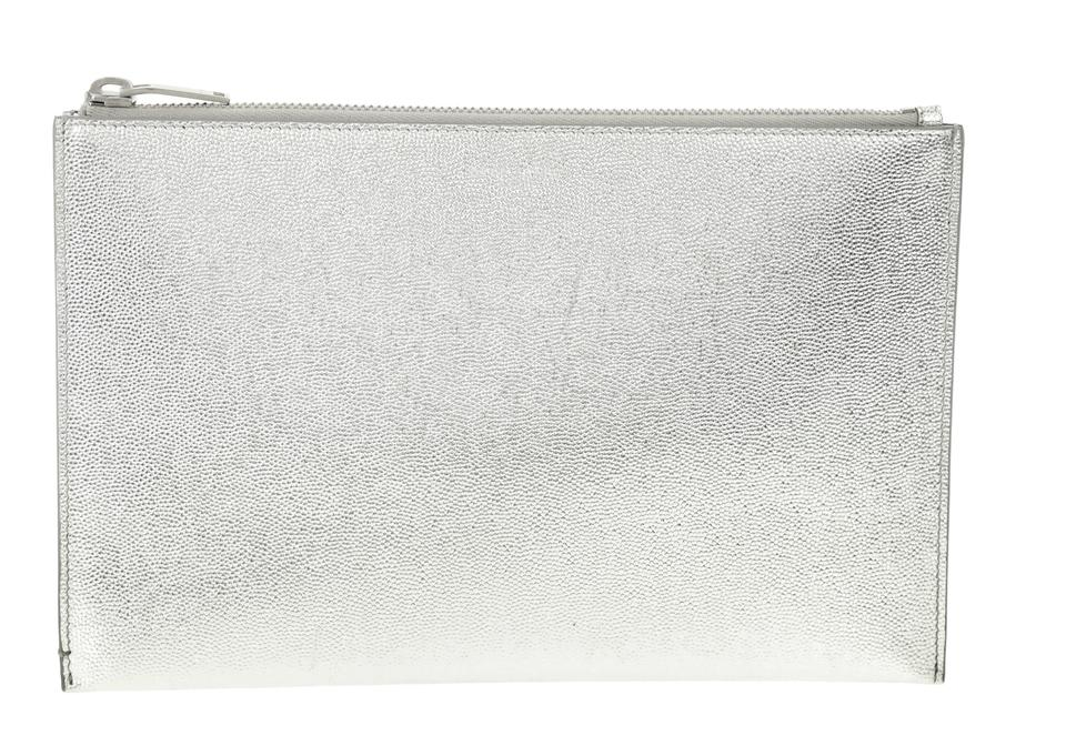 3eae31d6d119 Saint Laurent Silver Small Zip Pouch Wallet - Tradesy