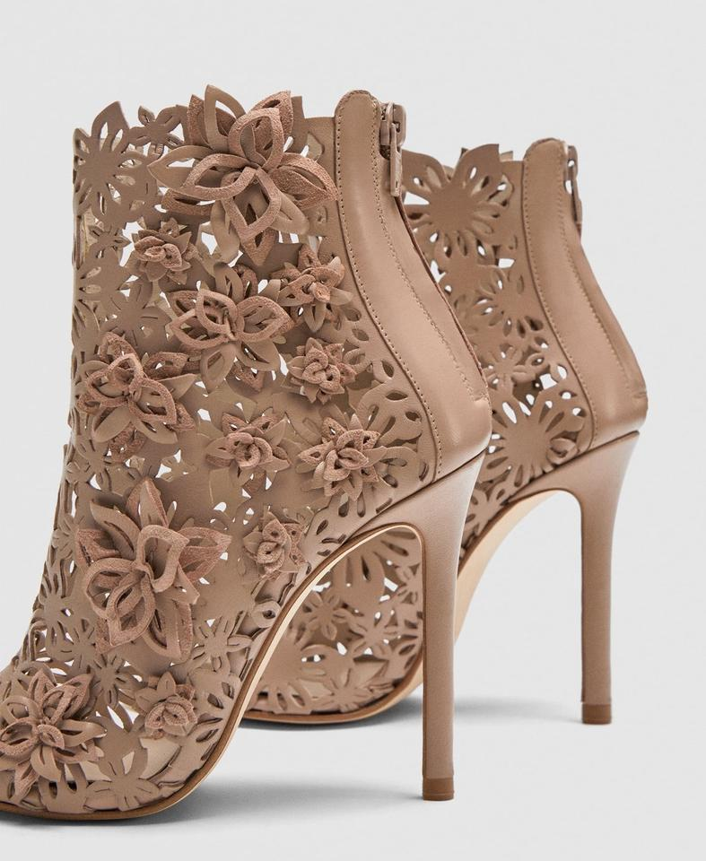 8cdab558f0b Zara Nude Floral Embroidered Leather Peep Sandals Size US 8 Regular ...