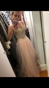 Mac Duggal Couture Blush Pink/Multi Beaded Top Silk and Chiffon Bottom Bustier Gown 20059 Formal Bridesmaid/Mob Dress Size 2 (XS)