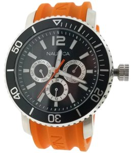 Nautica NAD16562G Men's Orange Rubber Band With Black Analog Dial Watch NWT