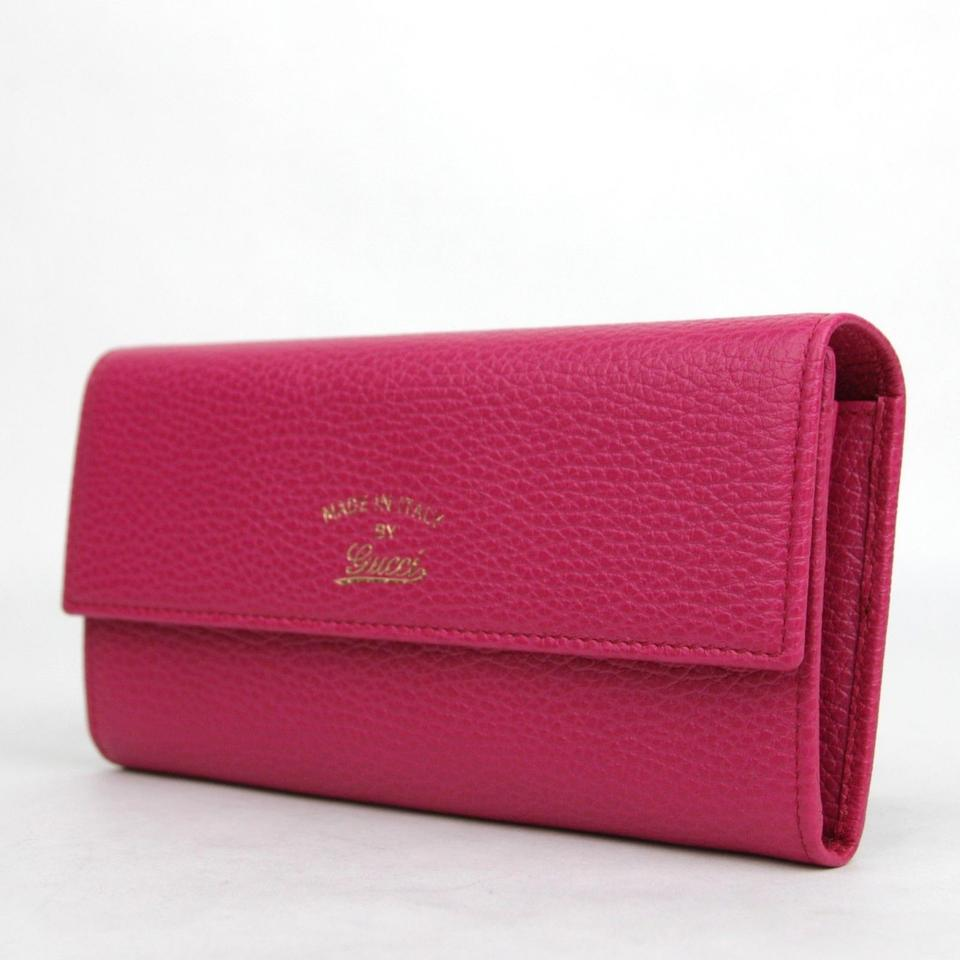 6f2fad01 Gucci Fuchsia Women's Leather with Trademark Logo 354496 5614 Wallet 46%  off retail