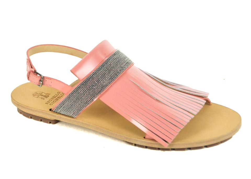 Brunello Cucinelli Ankle Pink Leather Monili Fringe Ankle Cucinelli Strap Sandals 293239