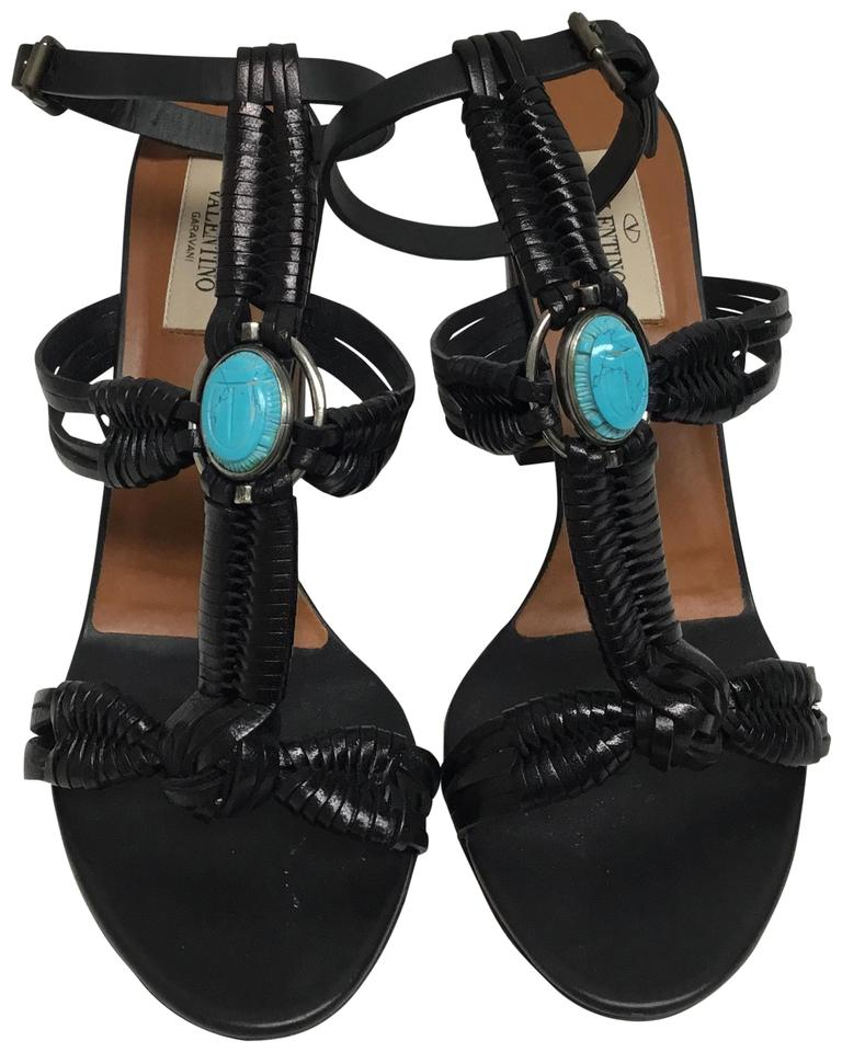 e9b8aad55e0d Valentino Black Woven Leather with Turquoise Stones Sandals Size EU ...