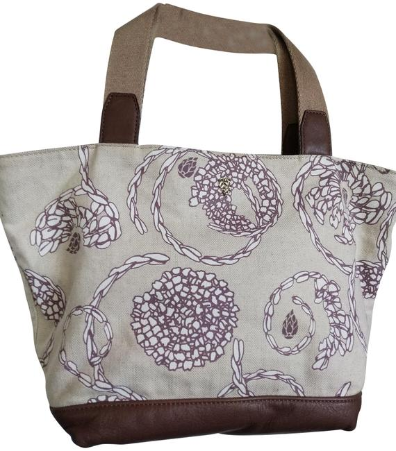 Item - Print With Cobblestone Natural Brown Canvas Leather Tote