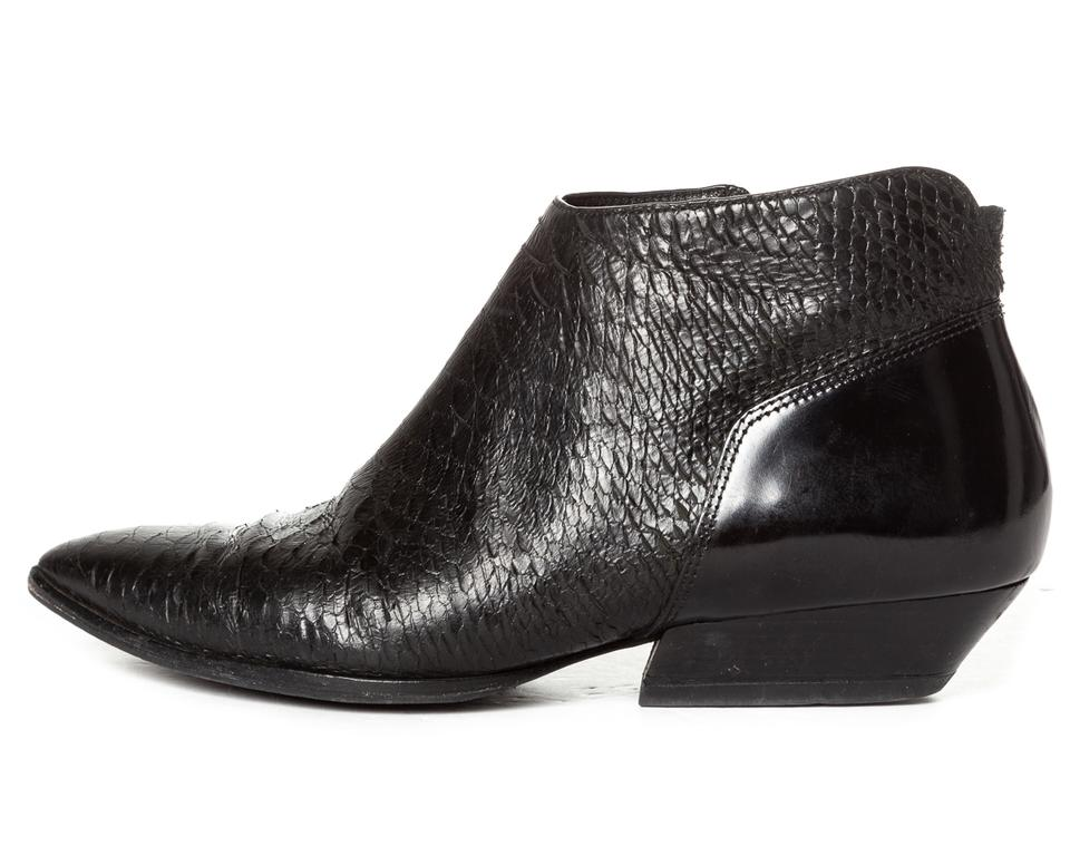 Sigerson and Morrison Booties Black Snakeskin Leather Boots Ankle RRxTr