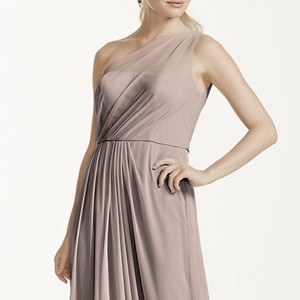 David's Bridal Biscotti Mesh Long with One Shoulder Neckline Feminine Bridesmaid/Mob Dress Size 8 (M)