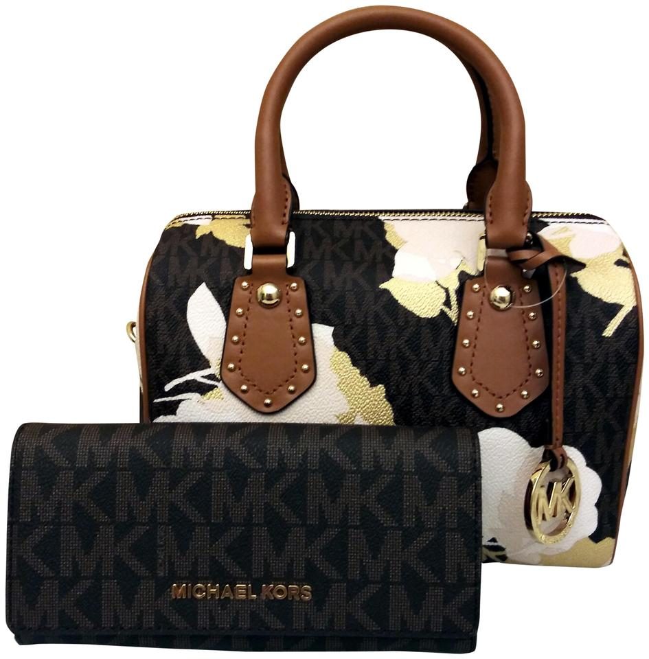 Michael Kors Aria Floral Signature Brown Coated Canvas Cross Body ... c3d8b1101eb37
