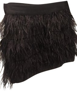 Wells Grace Date Night Mini Skirt Black Feathers