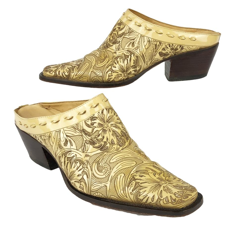 Charlie Lucchese 1 Horse Yellow Brown Lucchese Charlie Floral Leather Western Mules/Slides c63e4b