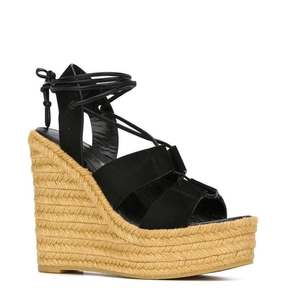 064b4f1c0 Saint Laurent Black Ysl Espadrille 95 Suede Platform 40.5/Us 416424 Wedges