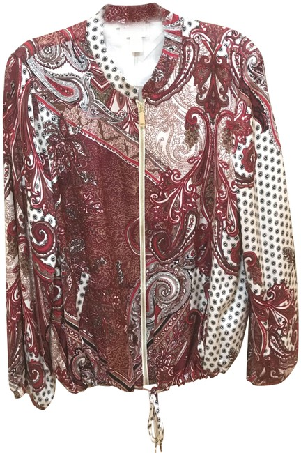 Chico's Red Paisley Bomber Printed Style: 570218031 Jacket Size 12 (L) Chico's Red Paisley Bomber Printed Style: 570218031 Jacket Size 12 (L) Image 2