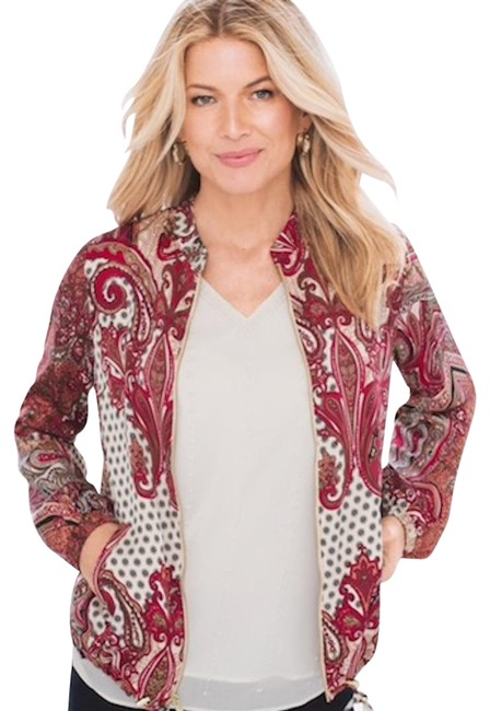 Chico's Red Paisley Bomber Printed Style: 570218031 Jacket Size 12 (L) Chico's Red Paisley Bomber Printed Style: 570218031 Jacket Size 12 (L) Image 3