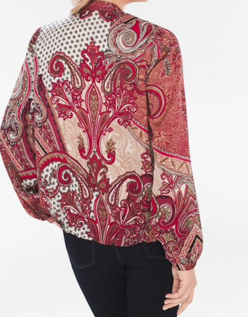 Chico's Red Paisley Bomber Printed Style: 570218031 Jacket Size 12 (L) Chico's Red Paisley Bomber Printed Style: 570218031 Jacket Size 12 (L) Image 4