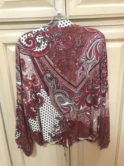 Chico's Red Paisley Bomber Printed Style: 570218031 Jacket Size 12 (L) Chico's Red Paisley Bomber Printed Style: 570218031 Jacket Size 12 (L) Image 5