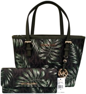 9711419903746 Michael Kors Jet Set Travel Xs Carryall Green Brown Coated Canvas Tote