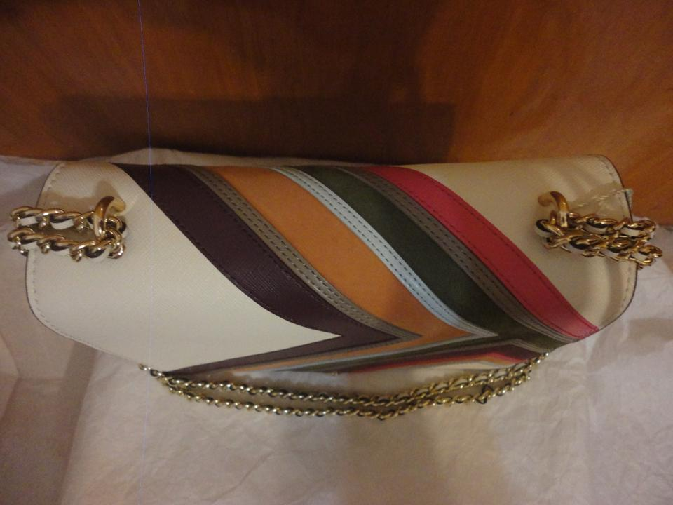 Striped Ivory Shoulder Saffiano Multicolor Leather Robinson Burch Convertible Bag Tory gpntYqC