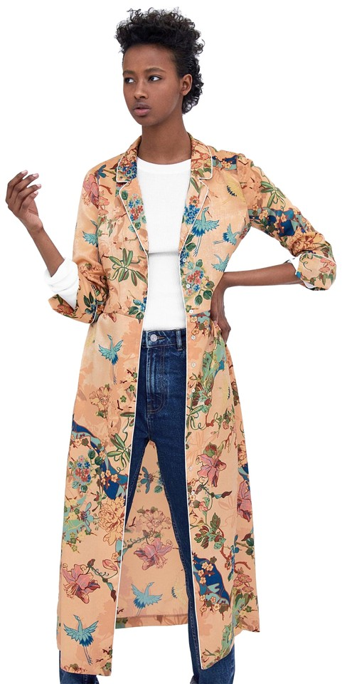 ccf93ff5 orange Maxi Dress by Zara Floral Tropical Birds Button Up Overcoat Image 0  ...