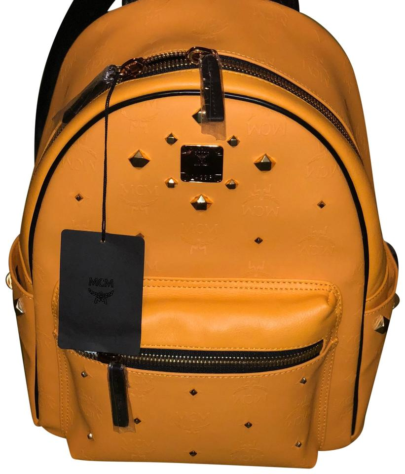 Cowhide Backpack MCM Yellow Coated Radiant Canvas zwxTAg1U