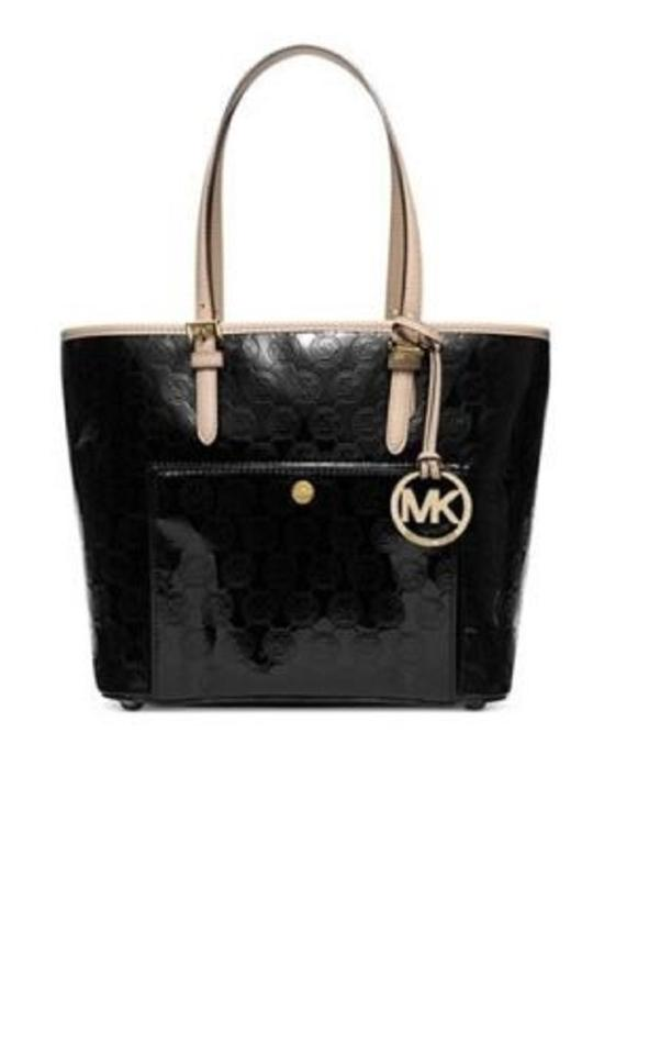 03e1124e7700 Michael Kors Jet Set Medium Snap Pocket Metallic Signature Logo Shoulder  Glossy Mirror Black Pvc and Leather Tote - Tradesy