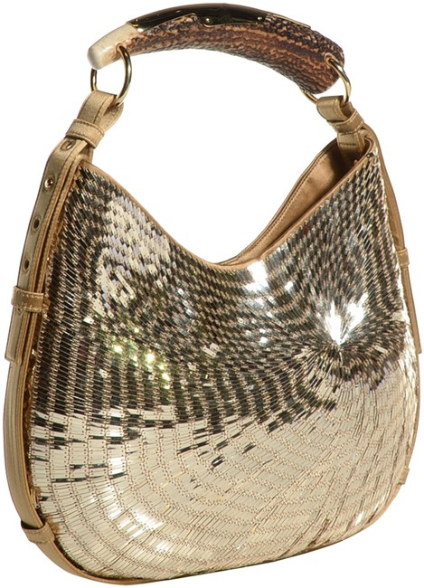 Item - Mombasa Ysl Yves Celeb Fave Satin Limited Edition Gold Sequins Canvas Hobo Bag