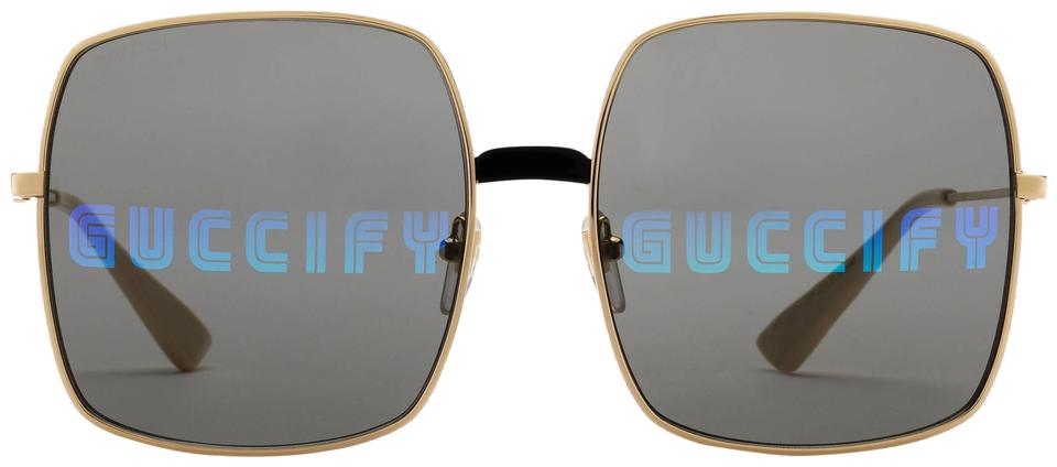 f9e209378eb Gucci Gold Gg0414s Rectangular-frame Metal Sunglasses - Tradesy