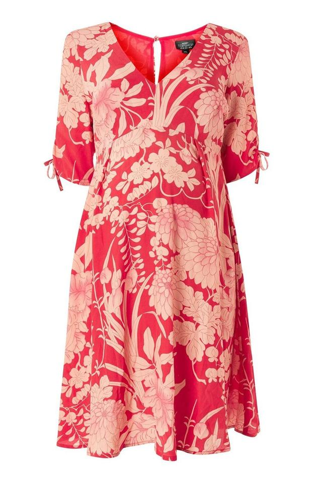 479acb165d975 Topshop Red Floral Tea Maternity Dress Size 4 (S, 27) - Tradesy