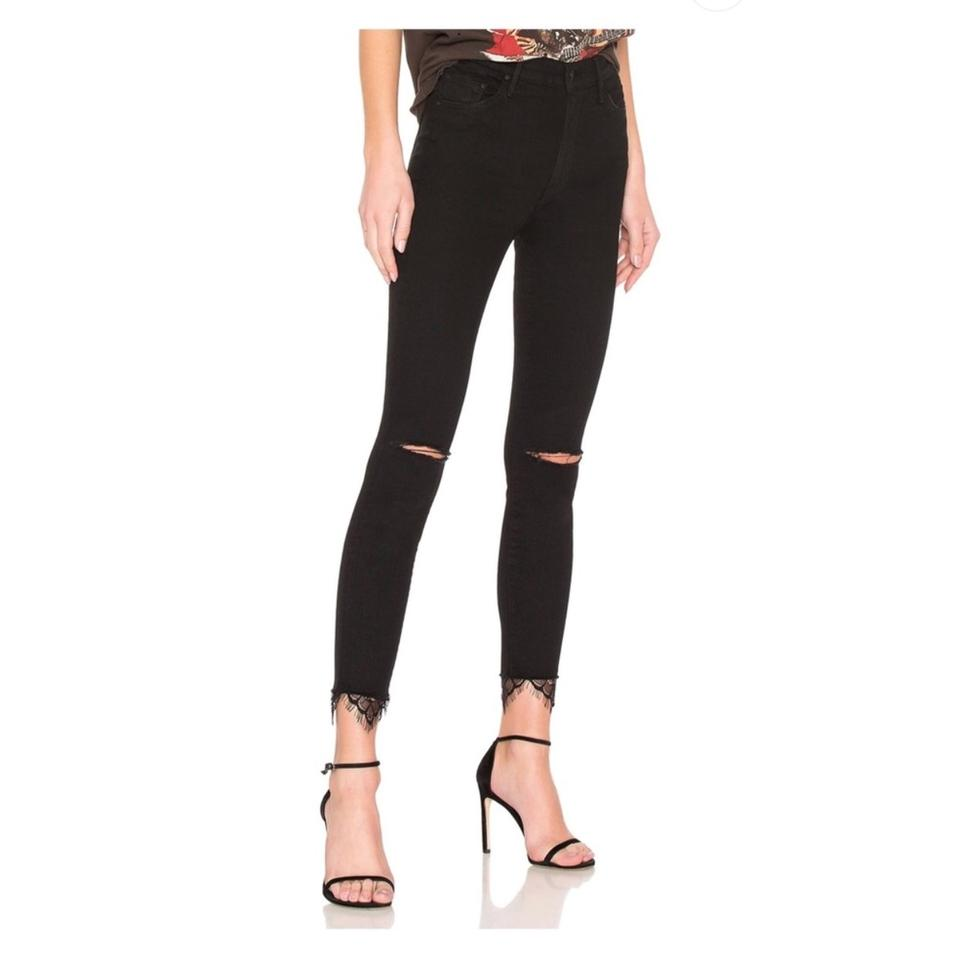62b4684263ad Mother Black The Swooner Dagger Ankle Fray Skinny Jeans Size 0 (XS ...