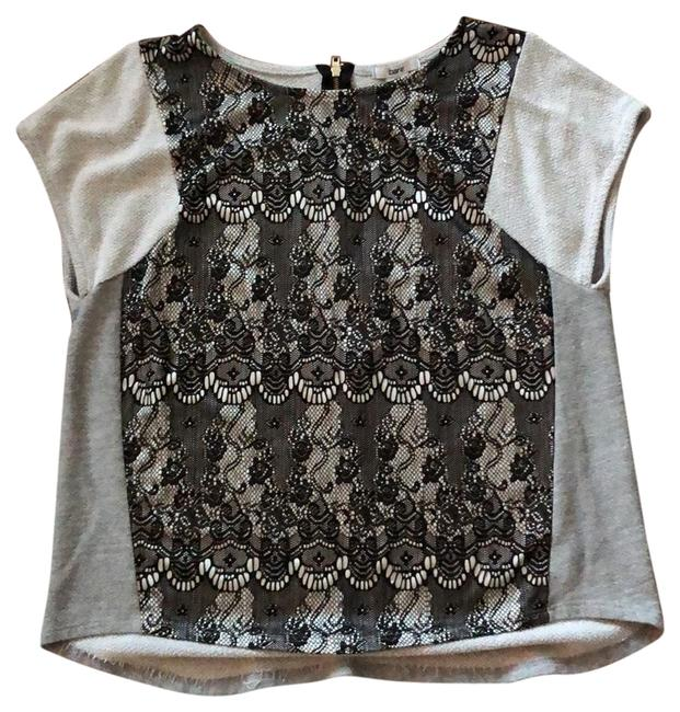 Item - Gray and Black Lace Front Tunic Size 12 (L)