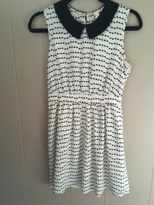 One Clothing Peter Pan Collar Patterned Tea Length Monochrome Dress