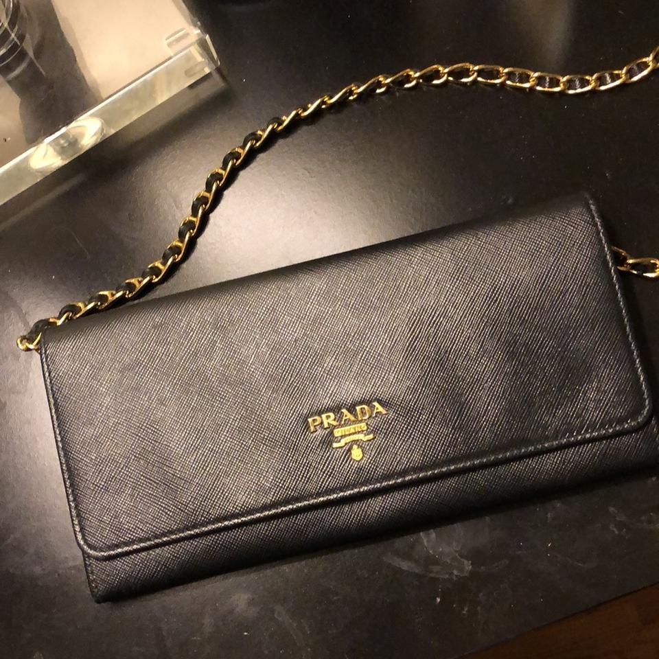 Cross Bag Wallet Body A Leather Black On Saffiano Chain Prada Pg60Fxq6