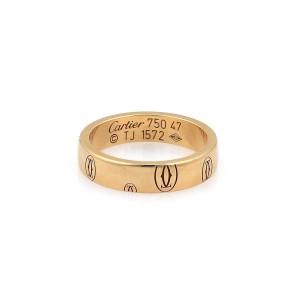 Cartier Happy Birthday 18k Rose Gold 4mm Wide Band Ring Size 47-US 4 Cert.