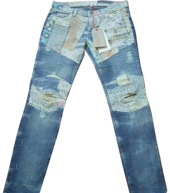 Item - Blue Light Wash Distressed The Motto Ankle Skinny Jeans Size 27 (4, S)