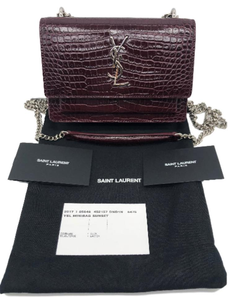 Red Saint Cross Laurent Sunset Monogram Body Croc Leather Bag Small Sunset 1qH4PwxR1