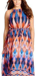 orange and blue Maxi Dress by City Chic