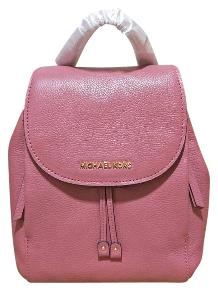 c8ee47522c66 Michael Kors Riley Medium Black Pebbled Pink Leather Backpack - Tradesy