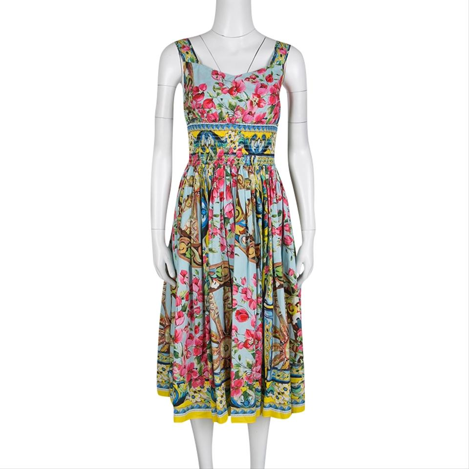 Multicolor Cotton Sleeveless Smocked amp;Gabbana Floral Dress Waist Print Dolce Poplin Short Casual ZCTqxn7w