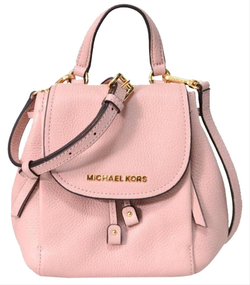 fd32940b95d289 Michael Kors Backpack Riley Small Flap Pebbled Pink Leather Cross Body Bag