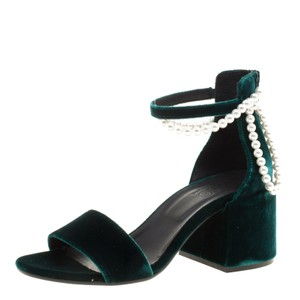 MM6 Maison Martin Margiela Velvet Embellished Ankle Strap Green Sandals