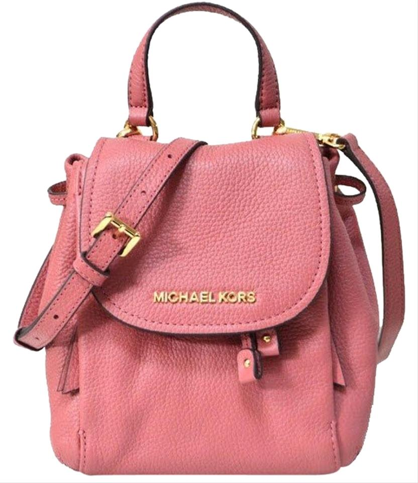 531d6fadfc5d Michael Kors Riley Small Flap Backpack Pink Leather Cross Body Bag ...