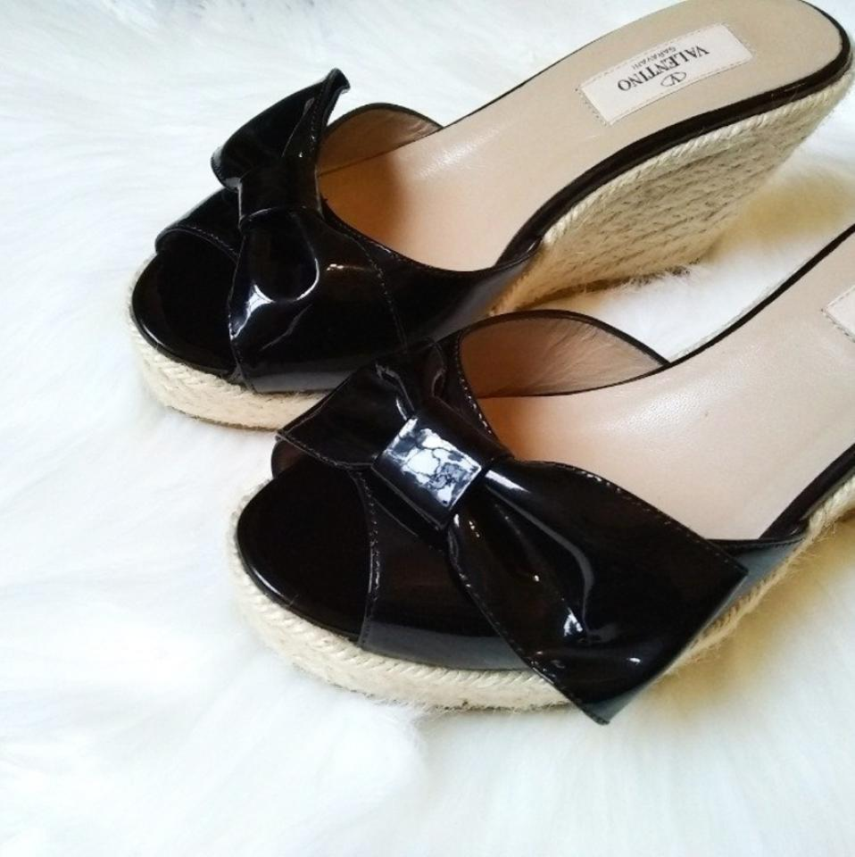 Espadrille Black Accent Wedges Valentino Bow qgxwaza5