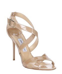 Jimmy Choo Strappy Heels Patent Leather Sandals Nude Pumps