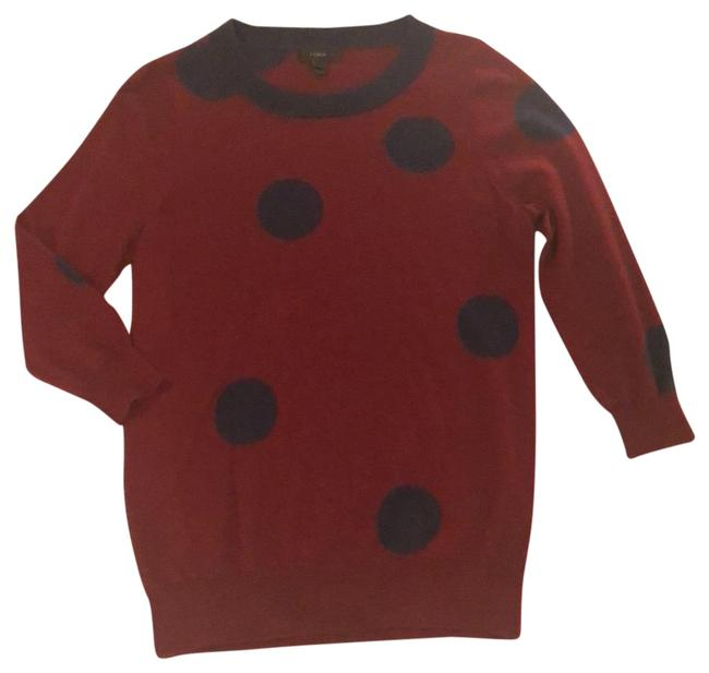 Item - Brick and Navy Dots Merino Wool Pullover Tunic Size 6 (S)