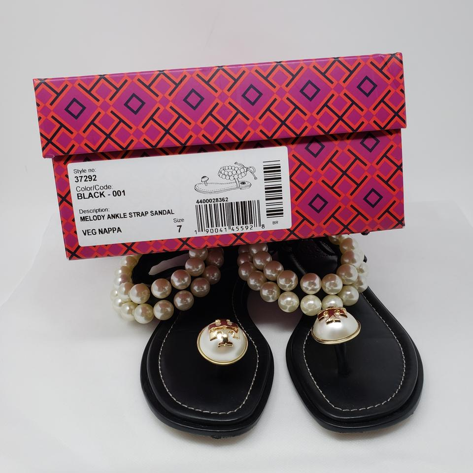 2b3c25725adf9c Tory Burch Black White Vegan Leather Melody Sandals Size EU 37 ...
