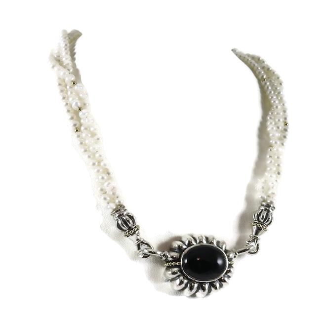 Lagos Silver Sterling 18k Pearl with Onyx Enhancer Necklace Lagos Silver Sterling 18k Pearl with Onyx Enhancer Necklace Image 1